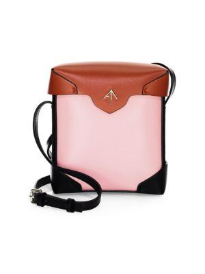 MANU ATELIER Mini Pristine Leather Box Crossbody Bag
