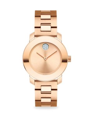 MOVADO Bold Rose Gold-Plated Stainless Steel Bracelet Watch