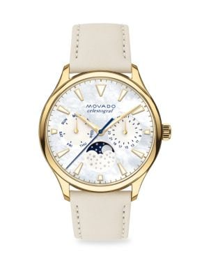MOVADO Heri Goldplated Steel Leather-Strap Watch