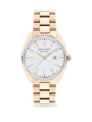 MOVADO Heritage Series Datron Diamond & Goldplated Stainless Steel Bracelet Watch