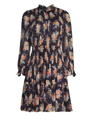 REBECCA TAYLOR Floral Smocked A-Line Dress