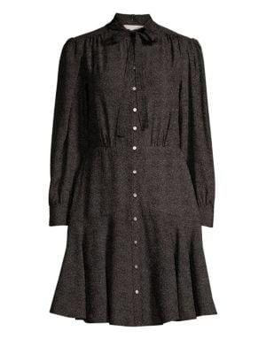 Dot Silk A-Line Shirt Dress