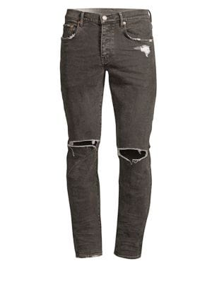 PURPLE Core Slim-Fit Coated Ripped Jeans