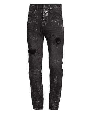 PURPLE Core Distressed Paint Slim-Leg Jeans