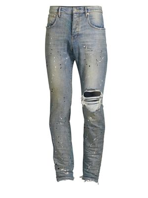PURPLE Core Paint Destroyed Slim Jeans