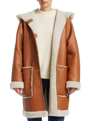 Carver Shearling-Lined Leather Coat