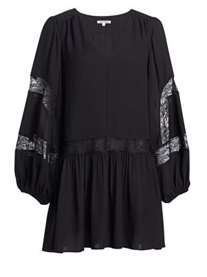 Leslie Georgette Lace-Trim Peasant Dress