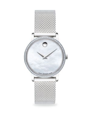 Museum Pavé Diamond Stainless Steel Mesh Bracelet Watch