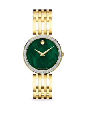 Goldplated, Diamond & Mother-Of-Pearl Bracelet Watch