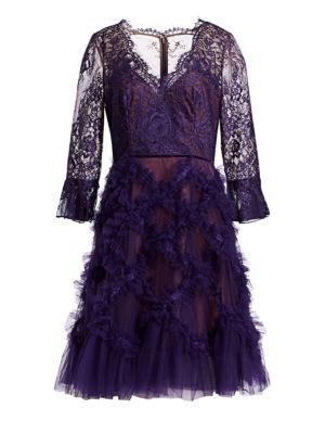 MARCHESA NOTTE Lace and Lattice Tulle Dress