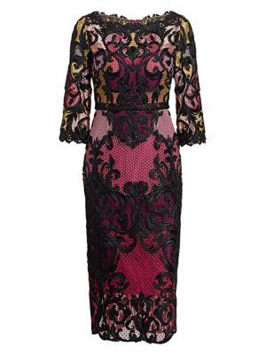 Lace Colorblock Midi Dress