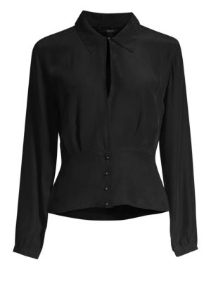 Lindsay Silk Pleated Blouse