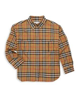 BURBERRY | Little Boy's & Boy's Sasha Woven Button-Down Shirt | Goxip