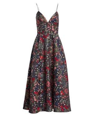 ML MONIQUE LHUILLIER Sleeveless Floral A-Line Midi Dress
