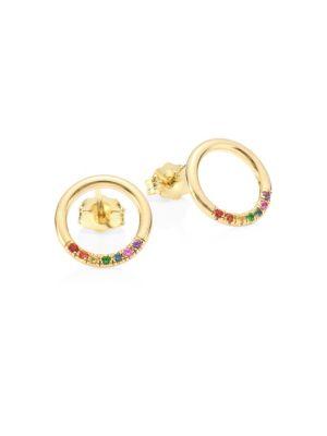 14K Yellow Gold Gemstone Stud Earrings