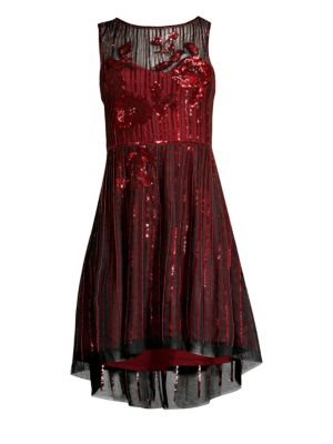 PARKER BLACK Abba Sequin High-Low Dress