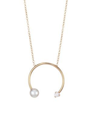 14K Yellow Gold, 4MM White Pearl & Diamond Open Circle Pendant Necklace