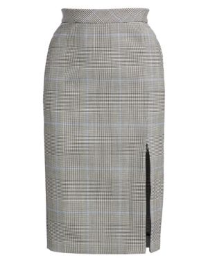 Plaid Zip Pencil Skirt