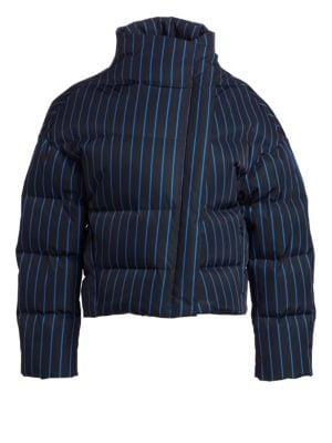 Asymmetric Striped Puffer Jacket