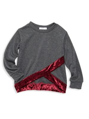 Little Girl's & Girl's Rori Wrapped Crushed Velvet Sweatshirt