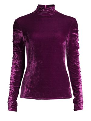 Velvet Ruched Turtleneck