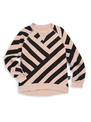 Baby Girl's & Little Girl's Asymmetric Striped Sweater