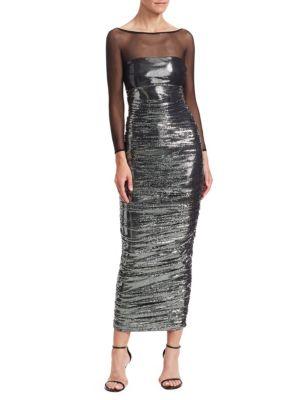 Gyan Lamé Illusion Maxi Dress