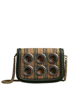 Vintage Check & Grommet Cotton & Leather Shoulder Bag