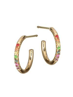 Rainbow Gemstone & 14K Yellow Gold Huggie Hoop Earrings