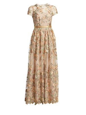 ML MONIQUE LHUILLIER Sheer Floral Overlay Satin Gown