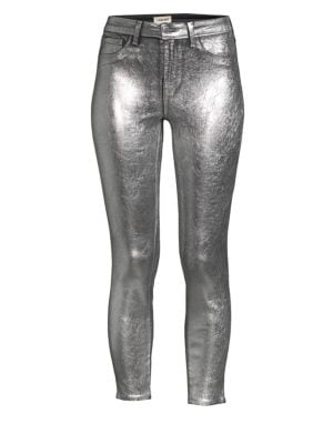 Metallic Cracked Skinny Jeans