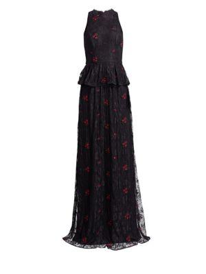 ML MONIQUE LHUILLIER Halter Peplum Lace Gown