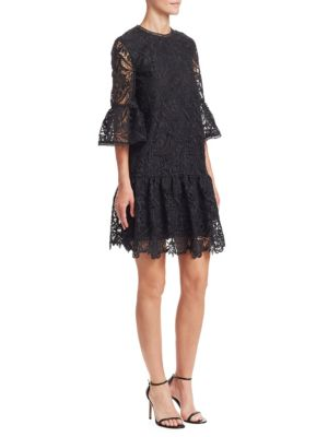 ML MONIQUE LHUILLIER Lace Bell Sleeve ShIft Dress