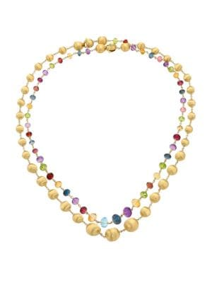 Africa 18K Yellow Gold & Mixed Gemstone Necklace