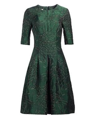 TERI JON BY RICKIE FREEMAN Three-Quarter Sleeve Jacquard Cocktail Dress
