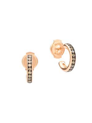Iconica 18K Rose Gold & Brown Diamond Small Hoop Earrings