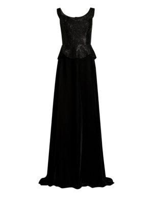 BASIX BLACK LABEL Sequin Peplum Velvet Gown