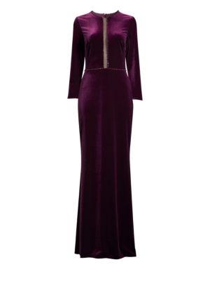 BASIX BLACK LABEL Velvet Beaded Column Gown