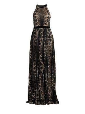 Velvet Floral Halter Gown