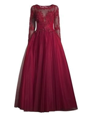 Illusion Beaded Ball Gown