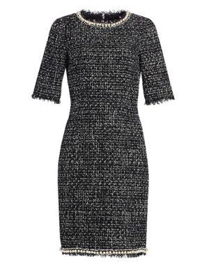 TERI JON BY RICKIE FREEMAN Tweed Pearl-Trimmed Sheath Dress