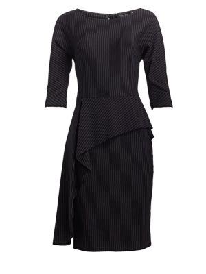 TERI JON BY RICKIE FREEMAN Peplum Ruffle Pinstriped Dress