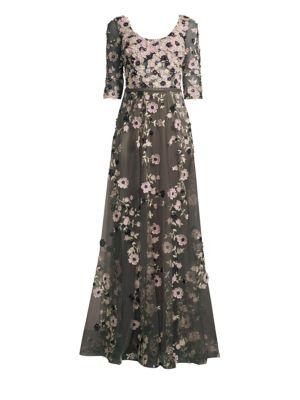 BASIX BLACK LABEL Quarter-Sleeve Floral Embroidered Gown