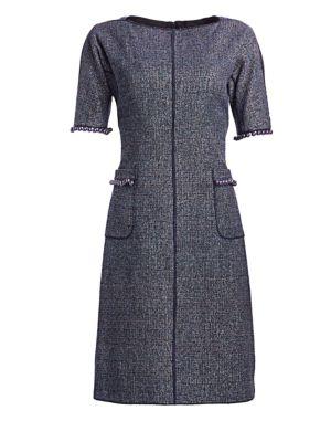 TERI JON BY RICKIE FREEMAN Tweed Pearl-Trimmed A-Line Dress