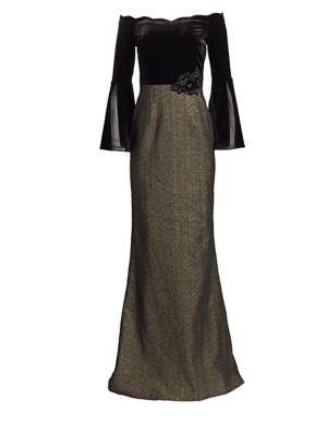 TERI JON BY RICKIE FREEMAN Velvet Off-The-Shoulder Gown