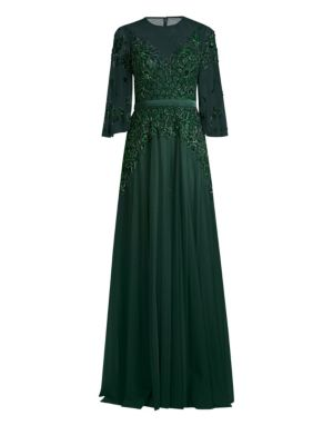 BASIX BLACK LABEL Embroidered Sheer Sleeve Gown