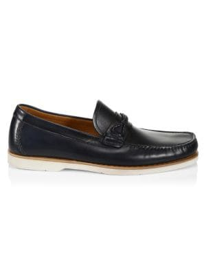 COLLECTION BY MAGNANNI Braided Loop Cross Strap Leather Boat Shoes