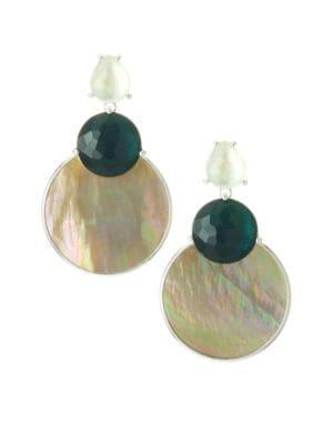 925 Wonderland Overlapping Shell, Stone & Sterling SIlver Snowman Post Earrings