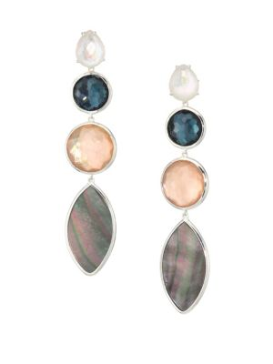 925 Wonderland Quartz, Mother-Of-Pearl & Sterling Silver Drop Earrings