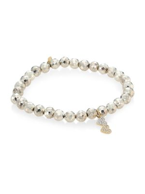 Small Double Heart 14K Yellow Gold, Diamond & Pyrite Bracelet